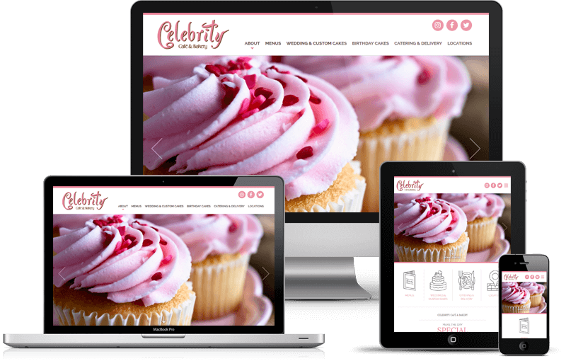 Website Development for Celebrity Cafe & Bakery Locations in Dallas, Frisco, Plano DFW