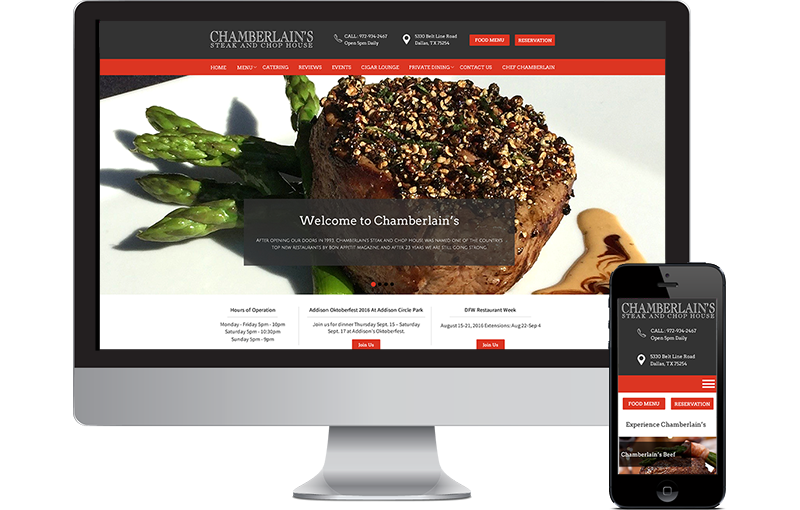 Web Design for Chamberlain's Steak & Chop House