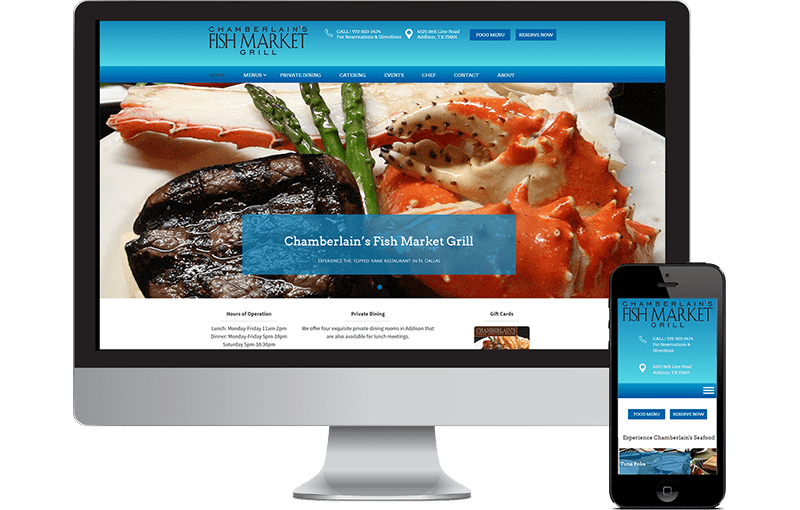 Web Design Chamberlain's Seafood Restaurant in N. Dallas / Addison