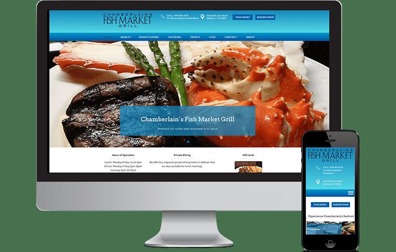 Web Design Chamberlain's Seafood Restaurant in N. Dallas / Addison