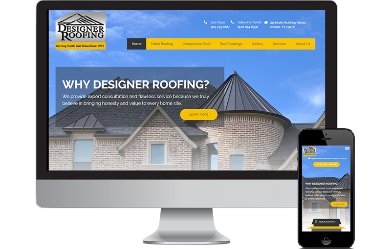 Web design Dallas Roofing Company