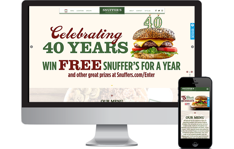 Snuffer's restaurant website upgrade