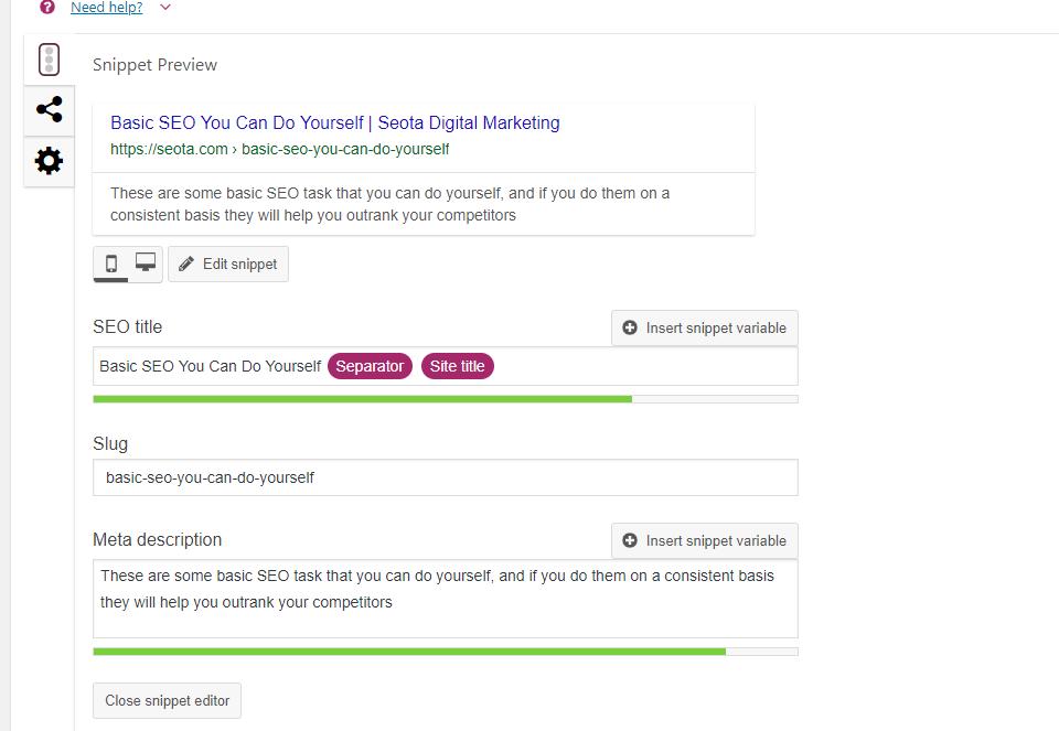 setting yoast page settings per page