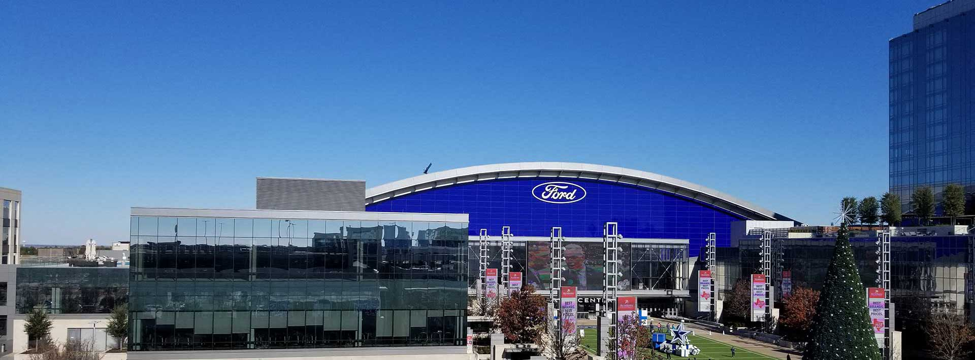 Ford Field in Frisco with Christmas Tree