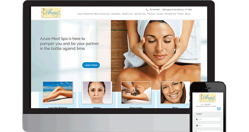 Web design Frisco Texas spa Azure