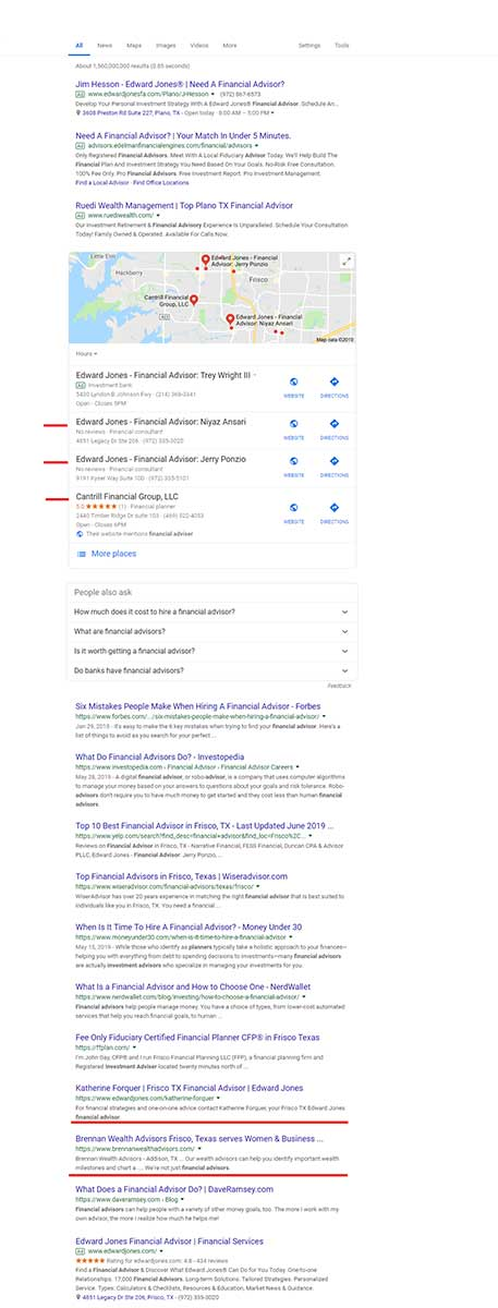 Financial Advisor in the SERP results