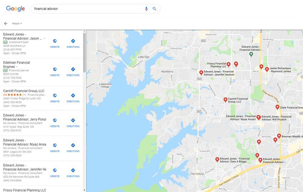 Financial Advisors Frisco TX Google Map Snapshot