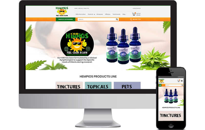 CBD Website Design for HempIOS by Seota Digital Marketing Frisco, TX & Phoenix, AZ