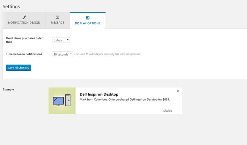 social proof plugin display settings