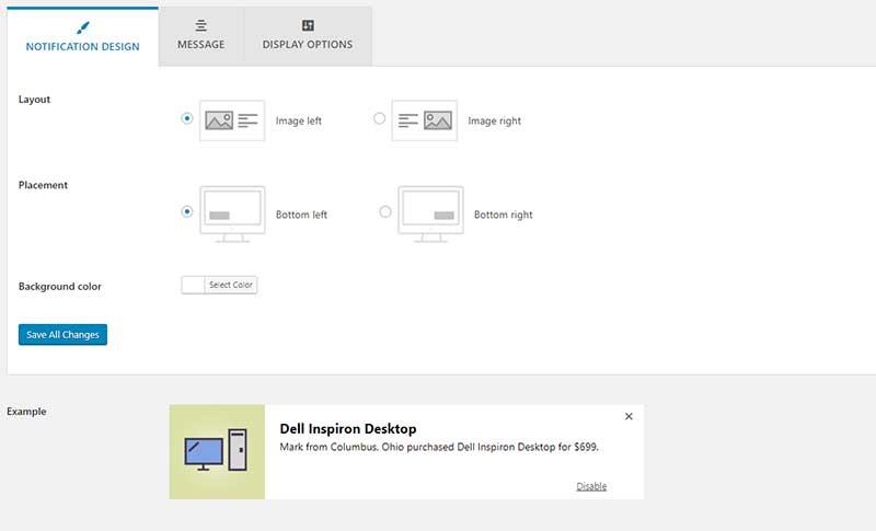 social proof WordPress plugin display setting