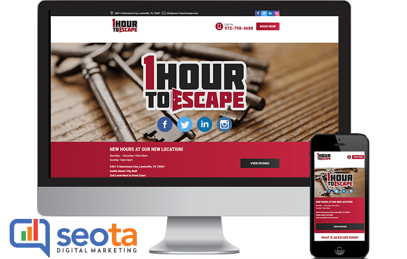 WordPress Web design 1 Hour To Escape by Seota Digital Marketing Frisco TX - Phoenix AZ - Dallas TX