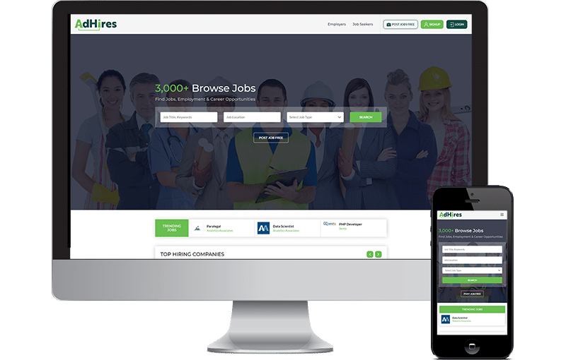 AdHires Job Portal in WordPress Web Design by Seota Digital Marketing Frisco, TX - Dallas, TX - USA