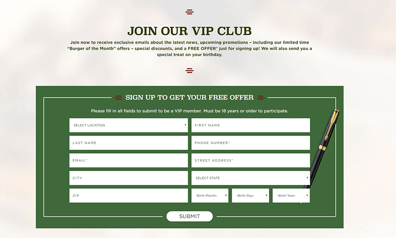 VIP Club signup page