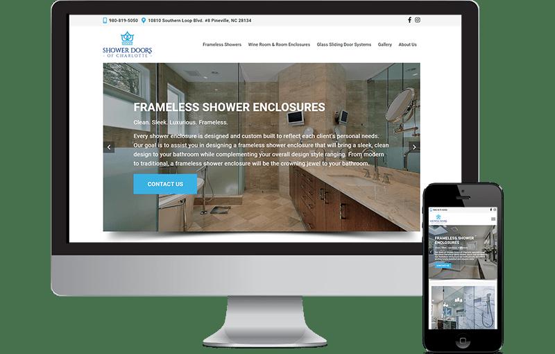 WordPress Design for Shower Doors of Charlotte
