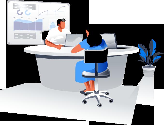 illustration of team working on web development
